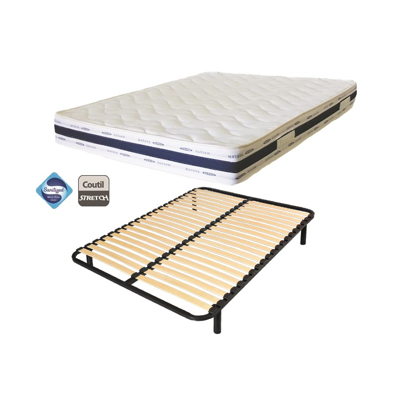 lit 1 personnes 90x190 matelas luxe confort sommier lattes france matelas. Black Bedroom Furniture Sets. Home Design Ideas