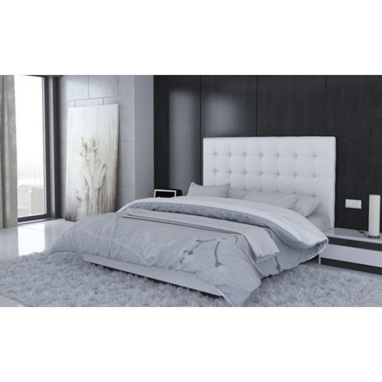 lit capitonn blanc cuir table de lit. Black Bedroom Furniture Sets. Home Design Ideas