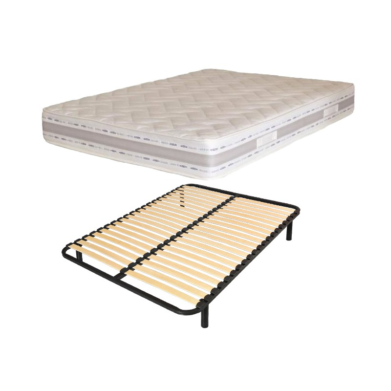 lit 2 personnes 140x190 matelas m mo r ve sommier lattes. Black Bedroom Furniture Sets. Home Design Ideas