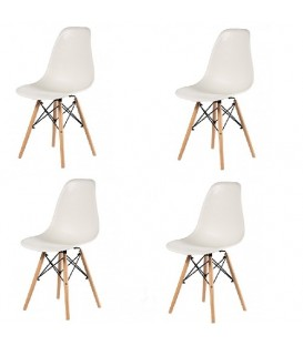 Lot de 4 chaises scandinave Oslo blanc