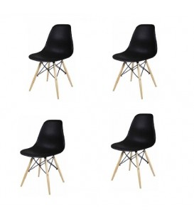 Lot de 4 chaise scandinave Oslo noir